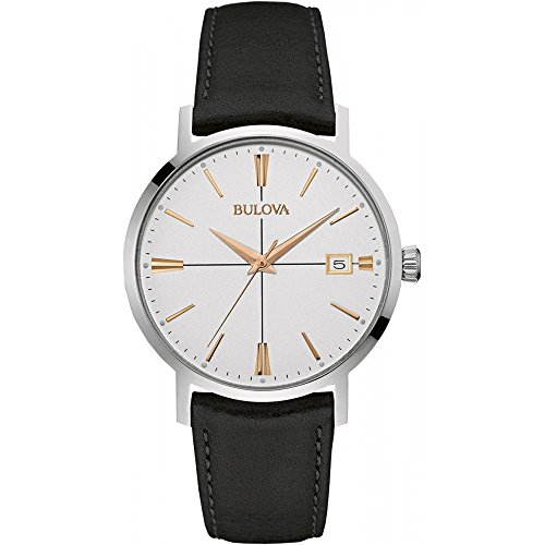 Bulova Classic Aerojet Men's Quartz Watch with White Dial Analogue Display and Black Leather Strap 98B254