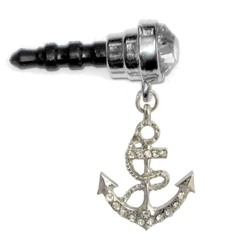 Nautical Ships Anchor Crystal Jeweled Clear Round Gem Cell Phone Charm 3.5Mm. Headphone Jack Anti Dust Plug For Mobile Iphone Android Htc Tablet Ipod Ereader