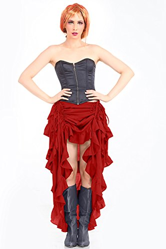 Steampunk Victorian Gothic Womens Costume Show Girl Skirt (Red)