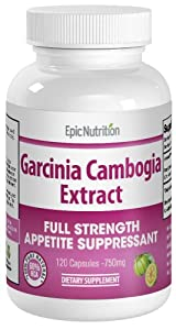 Epic Nutrition Garcinia Cambogia Extract - 120 Capsules - 750 mg per capsule by Epic Nutrition