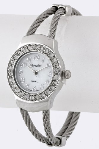 Karmas Canvas Crystal Cable Cuff Watch (Silver)