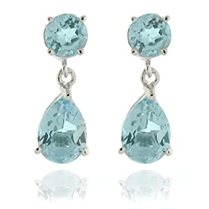 Sterling Silver Circle and Teardrop Blue Topaz Dangle Earrings