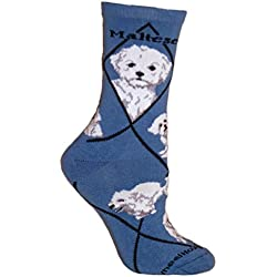 Maltese Puppy Dog Blue Cotton Ladies Socks