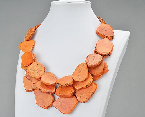 Orange Chunky Turquoise Necklace, Statement Necklace - Two Strands 18.5 Inches Bluish Green Turquoise Necklace With Red Beads(Fn0411-Orange)