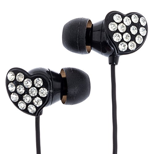Crystal Heart Earbud Headphones W/ Large Rhinestones (Black & White)