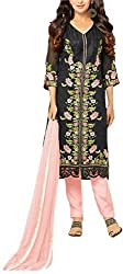 Binny Creation Women's Semi-Stitched Georgette Embroidered Salwar Suit. (black)