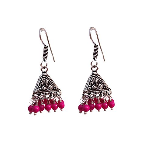 Kaizer Jewelry HandiCraft HandMade High Quality German Silver Triangle Flower Jhumki with Pink beads (Better than Oxidized) Jhumki Jhumka For Women / Girls (Gift)  available at amazon for Rs.199