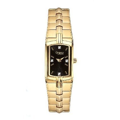 Caravelle by Bulova 44P002 Ladies Gold Tone Stainless Steel Black Dial Watch