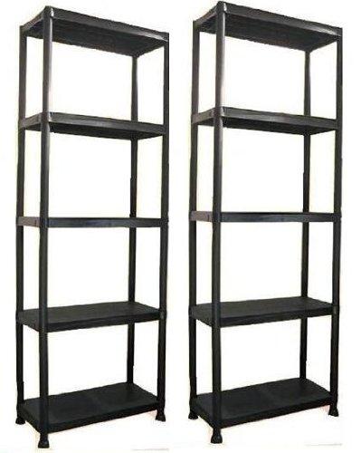 5 Tier Plastic Shelving Units Black/ Storage/ Set Of 2