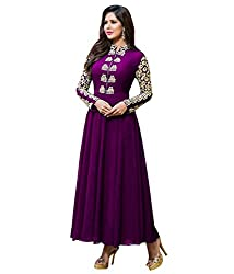 Fashion Fire Women's Purple Embroidered Georgette Unstitched Dress Material