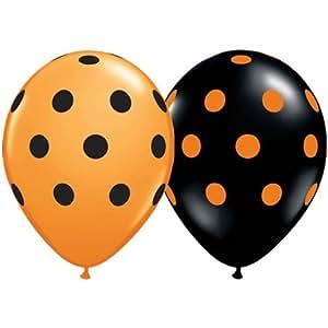 Big Polka Dots Black and Orange Latex Balloons Pkg/100
