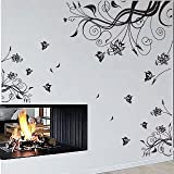 Large Vine Flower Butterfly Wall Stickers / Decalsby amazingsticker