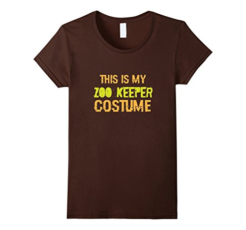 [Women's This is my Zoo Keeper Costume - Funny Halloween T-Shirt Large Brown] (Zookeeper Costumes For Womens)
