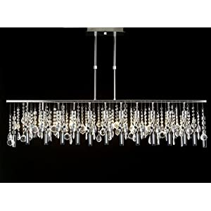 Modern contemporary broadway linear crystal chandelier for Contemporary chandeliers amazon