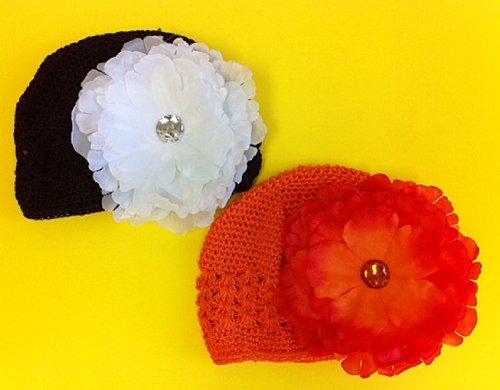 Baby Cotton Crochet Beanie Hat W/ Peony Flower (4Pcs Set) front-791683