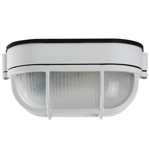 Sunlite ODI1030 9-Inch Wall Mount Oval Outdoor Fixture, White Finish with Frosted Glass