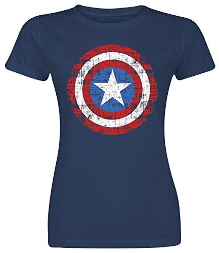 Captain America Logo Maglia donna blu navy S