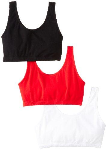 Fruit Of The Loom Women'S 3 Pack Built-Up Sportsbra, Red Hot/White/Black, Size 34