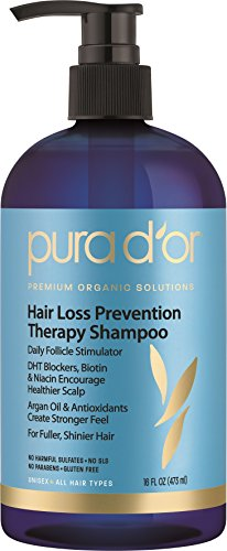 PURA D'OR Hair Loss Prevention Therapy Premium Organic Argan Oil Shampoo, 16 Fluid Ounce
