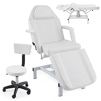 Adjustable Massage Table Bed Spa Facial Chair Beauty Equipment White w/ Stool