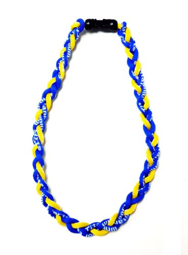 2 Pack 20&quot; Blue Yellow Titanium Germanium Tornado Baseball Necklace