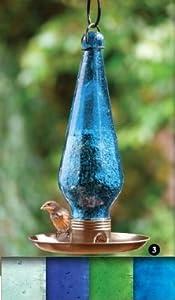 Parasol STSIGCLI Signature Clear Iridescent Blown Glass Bird Feeder