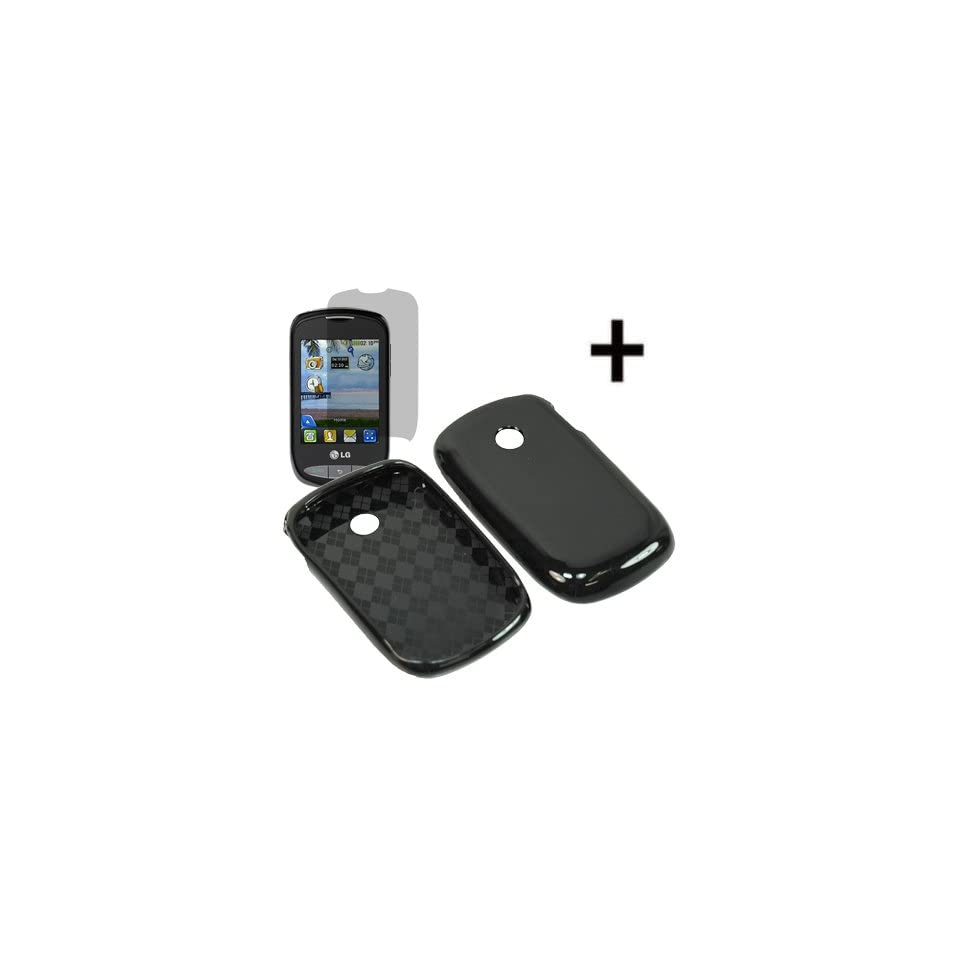 BW TPU Sleeve Gel Cover Skin Case for Tracfone, Net 10, Straight Talk LG 800G + Fitted LCD Black