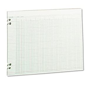 Wilson Jones Green Columnar Ruled Ledger Paper, Double Page Format, 24 Columns and 36 Lines per Page, 11 x 14 Inches, 100 Sheets per Pack (WG30-24A)
