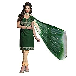 Paridhan Women'S Green Cotton Embroidered Suit 011