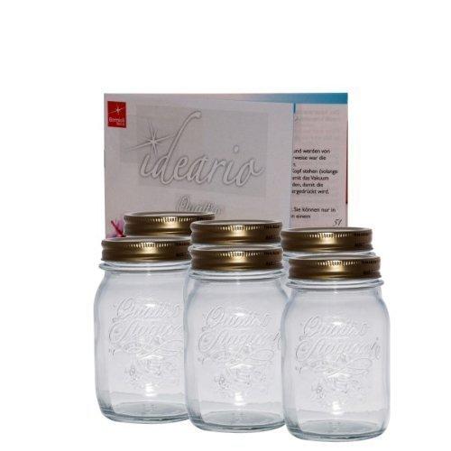 Bormioli Rezeptheft 4er Set Einmachglas Original Quattro Stagioni 1,5L incl