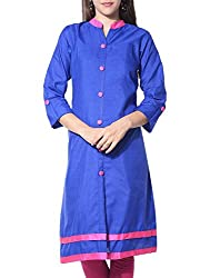 Femeie Apparel Women's Cotton Kurta (BLUE_PINK)