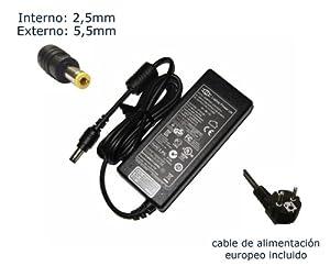 """Cargador de portátil Toshiba Satellite P35 P35-SP611 P35-S611 P35-SP609 P35-S609 P35-S611 Alimentación, adaptador, Ordenador Portatil transformador - Marca """"Laptop Power""""® (12 meses de garantía y cable de alimentación europeo incluido)"""