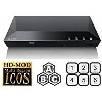 SONY BDP-S1100 Multizone All Region Code Free DVD Blu ray Player - 1 USB, 1 HDMI, 1 COAX, 1 ETHERNET + 6 Feet HDMI Cable Included. Small Size (W x D x H) 290 x 193 x 42 mm. Spielt alle Standard-DVD-Region 0, 1, 2, 3, 4, 5, 6, 7, 8 und Region ABC Blu-ray Discs. 110-240V WorldWide Spannung - mit EU / UK-Netzstecker