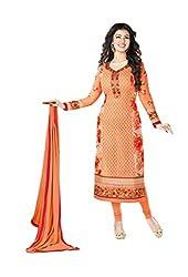 VH FASHION Orange Embroidery Printed Pure Georgette Semi stitched Dress Material