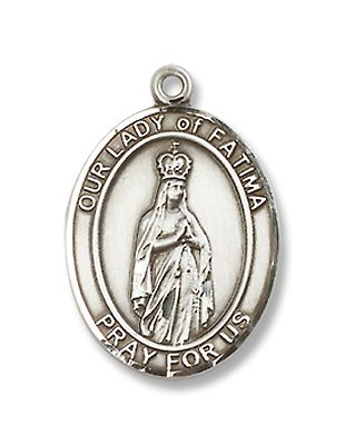 Our Lady of Fatima Sterling Silver Medal with 18