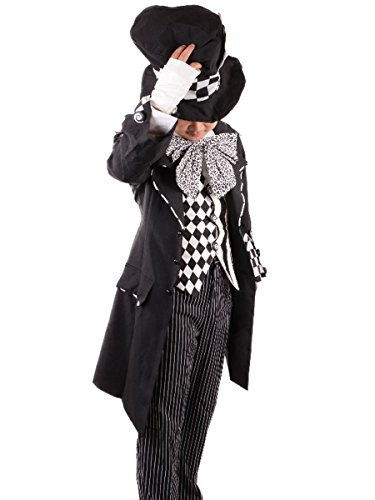 Dark Mad Hatter Costume Men Adult Alice in Wonderland Cosplay Fancy Dress