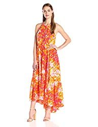 Tracy Reese Women's Tiered Halter Maxi Dress, Scattered Petals, Medium