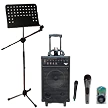 Pyle Speaker, Mic, Stand and Cable Package - PWMA860I 500W VHF Wireless Portable PA System /Echo W/Ipod Dock - PDMIK2 Professional Moving Coil Dynamic Handheld Microphone - PMSM9 Heavy Duty Tripod Microphone And Music Note Stand - PPFMXLR15 15ft. XLR Male to XLR Female Microphone Cable