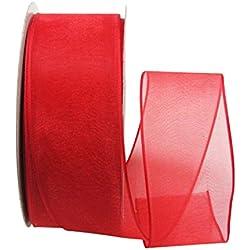Ribbon Bazaar Wired Sheer Organza 1-1/2 inch Red 25 yards Ribbon