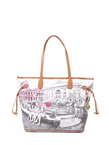 Borsa donna Shopping grande Y Not stampa Roma Pink Girls - Serie Yes Bags - F319