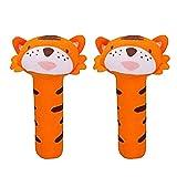 2 PCS infantil Ni�os Beb�s Ni�os estilo de dibujos animados Tiger Holding Grip felpa del traqueteo del palillo Juguetes educativos