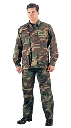 Woodland Camouflage Military BDU Shirt 7940 Size X-Small