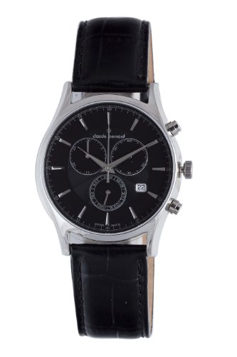 Claude Bernard Men's 13003 3 NIN Classic Black Dial Chronograph Leather Day-Date Watch