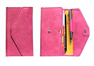 J Cover A12 Nillofer Leather Wallet Universal Phone Pouch Cover Case For LenovoK5 Note Pink