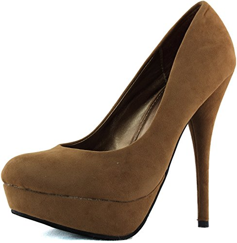 Women'S Top Moda Special-35 Tan Color Almond Stiletto Pumps Shoes, Tan , 8.5