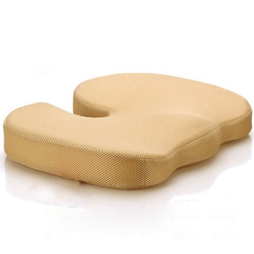 Love Home Coccyx Orthopedic Memory Foam Seat Cushion/Seat Pad/Chair Pad/ Chair Cushion/ Office Cushion/Car Cushion/Stool Cushion With 3D Air Mesh -Relieve Spinal Compression Nerve Pain, Sciatica And Pressure Off Back And Legs (Camel)--18''*14.2''*2.7'' back-899399