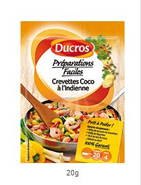 DUCROS - Solutions Cuisson - Preparations Faciles Pret a poeler - Crevettes Coco a l Indienne - 20 g