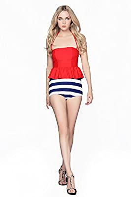 Swimsuit Viva Rose® 2pcs High Waisted Stripe Figure-shaping Women's Swimwear