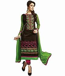 Black Color Cotton Unstitched Salwar Kameez Embroidered Dress Material