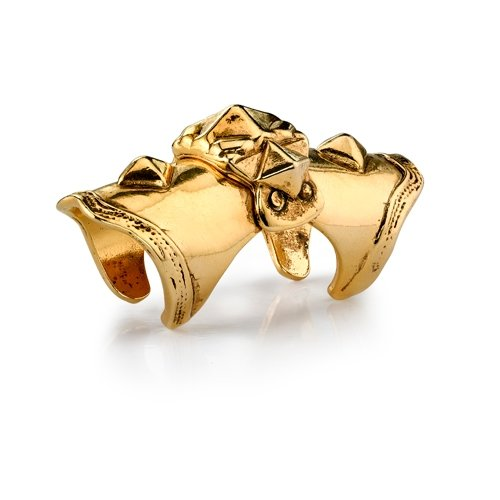 Low Luv - Armor Knuckle Ring - 14 Karat Yellow Gold Plated